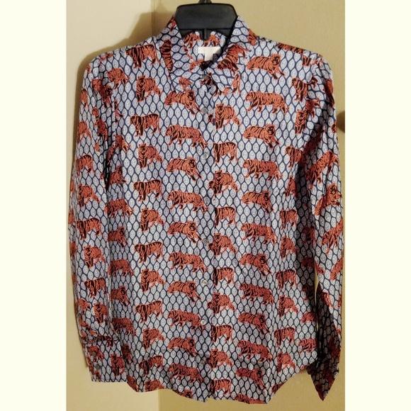 5635eba41ead01 J.Crew Collection Silk Tiger Print Shirt